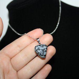 NWoT Dalmatian Jasper stone necklace silver chain